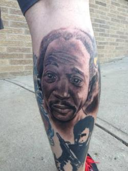"""We eat RIBS and whatnot!"" Man Gets Charles Ramsey Tattooed on Leg Greg Johnson @theGregJohnson hiGregJohnson.tumblr.com"