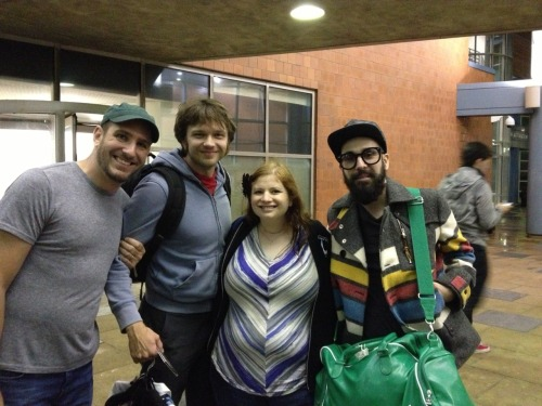rachelschain:  Baby's First OK Go photo! Mattingly, someday I hope you'll love these guys as much as your mommy does.  Four (actually five) of the coolest people in the universe.