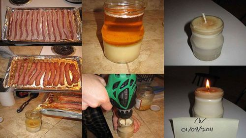 Bacon Related Update: DIY Bacon Fat Candle  Sick and tired of wasting perfectly good bacon fat? Check out Lifehacker.com for this DIY bacon fat candle.