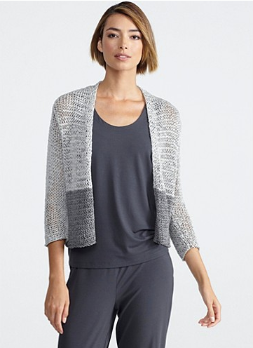 Gray by gray. Super cute and comfy 3/4-sleeve cardigan by EILEEN FISHER. A simple shape, transformed by tonal color blocking and a dimensional yarn. Perfect for layering or lounging around at home!