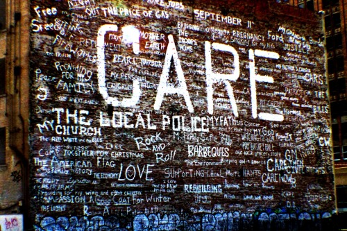 Downtown Detroit graffiti, representing things we care about