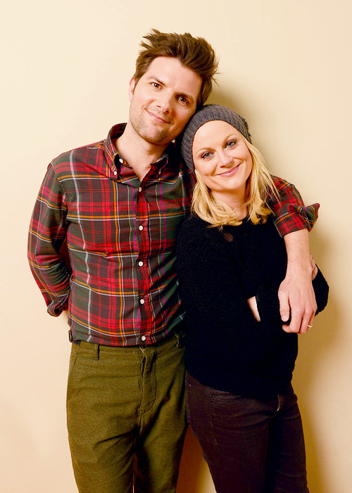 Adam Scott and Amy Poehler pose during the 2013 Sundance Film Festival on January 23, 2013 in Park City, Utah.