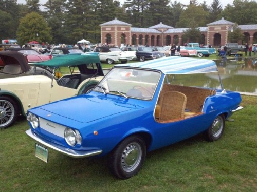 putthison:  This is a 1969 Fiat Shellette Michelotti. The wicker seats and dash were hand-woven by the same folks who made picnic baskets for Rolls Royce. I cannot imagine a finer ride to the beach. A bargain at $58,000.  Two please
