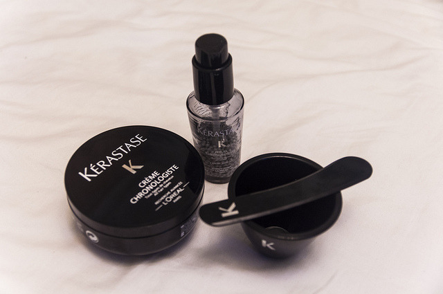 The Style Mermaid by Kisty Mea • Kerastase Chronologiste Kérastase Chronologiste was a product that was introduced years ago. It received so much praise from beauty editors and magazines, but was so-so received by consumers because it's too expensive. The Chronologiste line was advertised as Kérastase's finest restorative treatment that is perfect for all hair types, as if it was the hair's holy grail. Like most hair products, the Chronologiste promises to leave the hair incredibly soft, supple and shiny. Not to mention, deeply nourished and strengthened. The special ingredients? The caviar pearls. [[MORE]] I love my hair so much and I'm pretty much willing to do anything for it, regardless of the cost. So, I purchased my Chronologiste set for only S$225, which already includes the Kérastase Nutritive Bain & Conditioner and free shipping. This was the cheapest deal I can find online. In Singapore, Action Salon sells one box for S$250, and offers a hair treatment at S$350. Yikes. The box contains a cream, a spatula, a bowl, a pump filled with pearl-like mixture (the caviar) and an instruction kit. The instruction kit states that you have to mix the cream (at least 20 grams) and pearls in the bowl and apply it to your hair. Let the mixture stay there for 10 minutes, then rinse and style as usual. It's pretty simple to do but I have no idea why I need to DIY the process.  Thoughts On This Product: To answer my own question: The pearls does not simply dissolve, even when in contact with water. You have to make sure that the pearls are mashed well with the cream.  It's more ideal to try the treatment first at a salon, and see if it can provide results. But if you're being charged $350 for a one time treatment, might as well get the whole box because it's cheaper. Obviously, it's expensive. I would only recommend people trying this product out if they've tried all possible means to save their dry and damaged hair.  They say you have to use foil. I don't know. I think that's what they do in the salon, but it wasn't stated in the instruction kit. Was it worth it? I don't know, to be honest. I started using the product right after I dyed my hair back to brown, and had the hardest time seeing any results. The texture of my hair didn't change, it was still dry and frizzy. My hair was soft but not shiny. :(  Conclusion: It doesn't work with my hair.