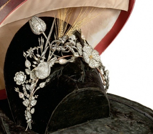 "Diamond tiara circa 1826 Thank you to simonerein:  Eccezionale Antica Tiara in Diamanti  Christie's Auction: CEPTIONAL ANTIQUE DIAMOND TIARA IN  composed of numerous flowers, buds, leaves and ears old cut diamonds in yellow gold, with seven marquise-cut diamonds mounted on ouches rolled back, beginning sec. XIX, within original box which also contained earrings in lot 470 natural pearls and natural pearls long necklace lot 471 From a document of the following are shown to us by the seller information we report only as a historical curiosity: Tiara with group of flowers and natural ears with gold (topaz?) Which is divided into two pieces in order to ""be able to have use of the notice and Boche performed in 1826 by jeweler Thomas Zamparo commissioned by the ND Co.ssa Dona Marina -Grimani on the occasion of the marriage of his son designed NHCO. Marco Antonio with NDCo.ssa Catherine Manin."