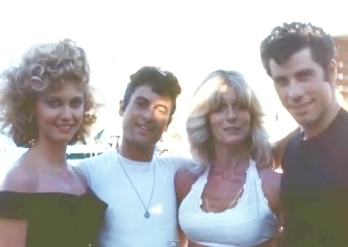 Olivia, Barry, Rona (Olivia's sister) & John on the 1977 set of Grease