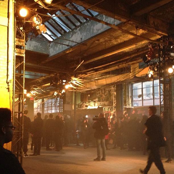 The very industrial (& filter less) scene at #Y-3. #nyfw  #attheshows  (at 80 Essex Street)