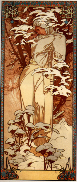 "earthg:  ""Winter"" (1897) by Alphonse Mucha"