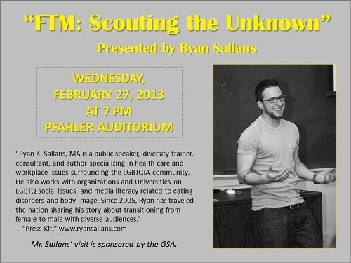 Just a reminder, if you are near Ursinus College, I will be presenting my transition story, FTM: Scouting the Unknown tonight at 7 pm.
