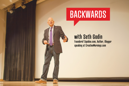 "creativemornings:  When Seth Godin talks, people listen. It could have something to do with the fact that he's written fourteen books that have all been bestsellers, or that his recent Kickstarter project broke records for its size and speed of reaching its goal, or it might be that his latest company, Squidoo.com, is ranked among the top 125 sites in the United States for traffic. Whatever it is, May's CreativeMornings/NewYork was no different, and Seth blew the audience away with ""truth bombs"" that revolutionized the way we think about what we do, and how we have had it backwards all along.  It's not our fault, though. Seth explained that we all grew up in an industrial world, an industrial economy where we were taught to do what we're told and fill in the circle with a No. 2 pencil. ""We're not in the industrial economy any more,"" says Seth, ""we're in the connection economy—and connection creates value."" Three Things We Have Backwards: 1. Many people believe that great designers get great clients. It's the other way around. ""How much of your day is spent working to get better clients versus pleasing the clients you've already got?"" says Seth. ""And is pleasing the clients you've already got the best way to get better clients?"" In Seth's talk, he points out how we have this client/employee relationship totally backwards. We're wasting time and selling out our souls trying to work for people to get paid, versus investing the time to find the client who is capable of giving the platform we deserve. Patience is for the impatient. Seth calls out the strategy most entry-level designers take when they first enter the workforce: taking anything and everything to scrap by. ""When you just collect scraps, and more scraps, sometimes that give you a leg up, but sometimes that makes you a scrap collector,"" says Seth. He advises that we be patiently impatient, calling the myth of the overnight success just that, a myth. The principle of leading up. Seth tells us to look to artists or designers that we admire, and examine how their work is making an impact. More often than not, he says, they're ""doing it by leading the people who are ostensibly in charge to make better decisions. Leading those people to have better taste. Leading those people to have the guts to do the work they're capable of doing."" So, no, you're not in charge, but none of us are. There has never been a time to take control and reverse this backwards thinking we've been trained to do. Now that you're aware of it, you have no excuse. In a later post, we'll unpack a few techniques Seth cited for ""leading up,"" so stay tuned! Watch the talk."