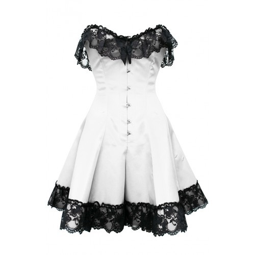 indulging-butterflies:  GC-1042 White Corset Dress with Black Flower Lace Trim  Price: 90€