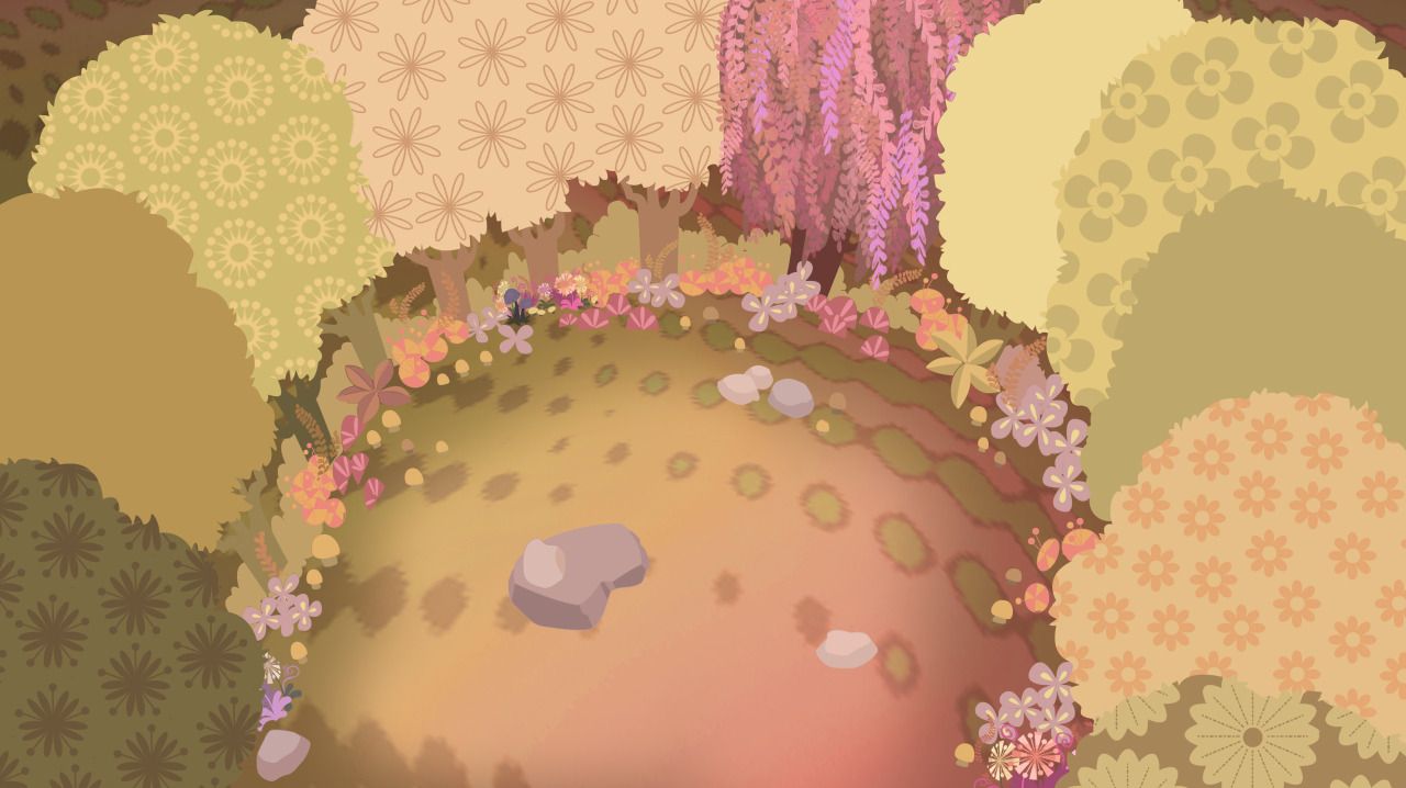 "Here's a sweet forest-clearing background for ""Doctor Lollipop,"" the work of Becca Ramos and Jill Daniels."