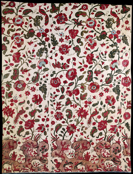objectcuriosity:  Wall Hanging, c.1700, India, painted and dyed cotton chintz, Victoria and Albert Museum.