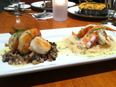 surf and surf  [1/2 lobster, mushrooms, jumbo shrimp, risotto]  RM seafood  las vegas, nevada