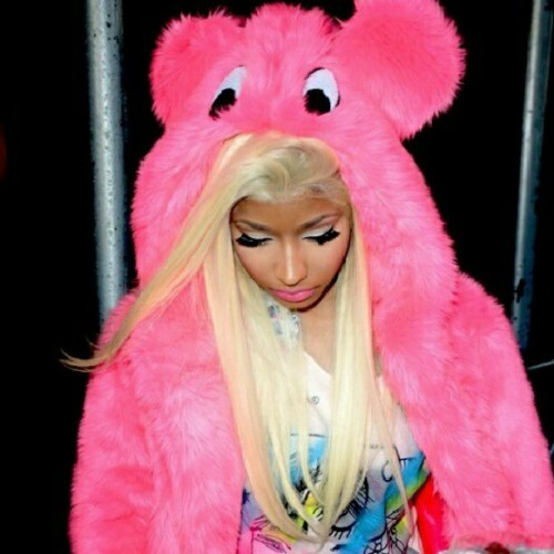 Nicki Nicki #pink #dope #swag #nicki #minaj #bear #hair #blond #makeup #shirt #jacket #like #girl #famous