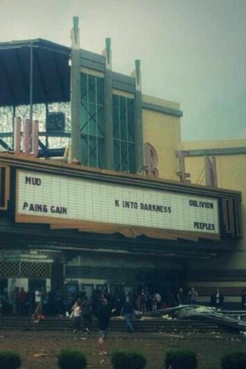 catsareforever:  What's left on the marquee of the movie theater in Moore, OK gives eerily accurate information about yesterday's events…