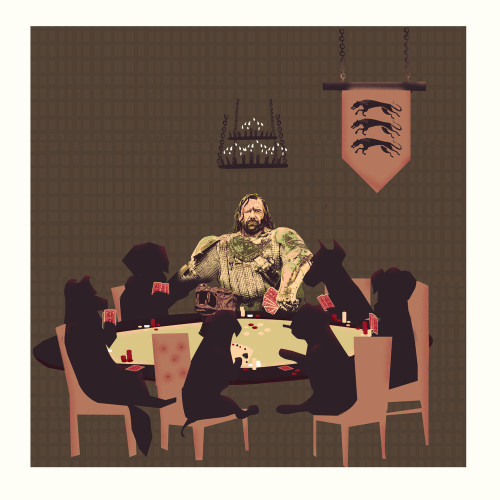"frodesignco:  Dogs Playing Pokerinspired by Game of Thrones18"" by 18""SIgned & Numbered Limited Edition of 50For details and purchasing info click here"