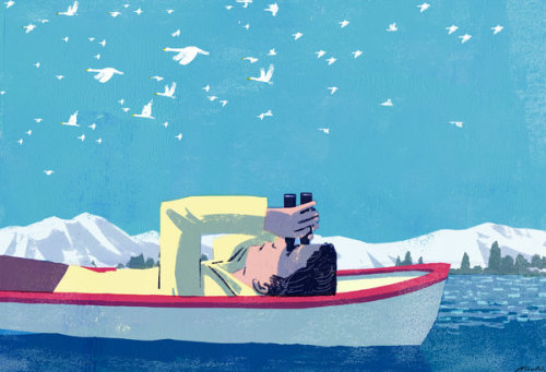 mejirushi:  kiuchitatsuro:  (via What Do the Bird-Watchers Know? - NYTimes.com)  The New Youk Times Sunday Review - バードウォッチャーに関するコラムのためのイラストレーション。