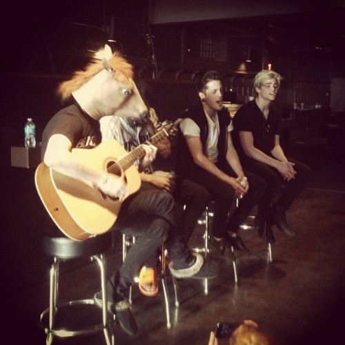 I wore a horse mask today during our acoustic set🐴  (at Chameleon Club)