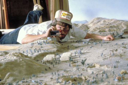 Steven Spielberg on the set of Raiders of the Lost Ark (1981)
