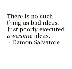 There is no such thing as bad ideas, just poorly executed awesome ideas.  - Damon Salvatore