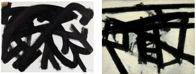 who-wore-it-better:  Pierre Soulages Brou de noix sur papier  ::  Franz Kline Mahoning