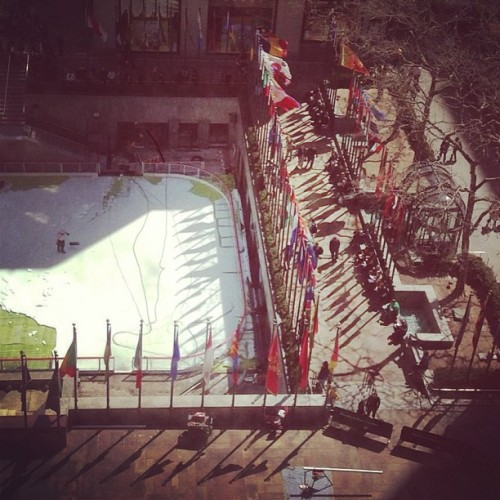View from the new office! thecyclemsnbc:  The #30rock ice rink is being dismantled so @arimelber says spring is coming! http://instagram.com/p/X2g7xDhB4_/
