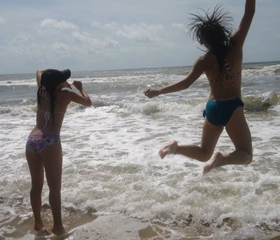 This picture was taken of my friend and I at the beach, all I can think when I see this is that everyone has their own pace, life is always waiting for you, you just have to be fearless and take a leap. If you don't let go of fear it will never let you go, and so you will be stuck with the burden of it, letting it weigh you down through everyday of your life…you can't let it rule who you are…the picture says it all, let your hair down!take a risk and just jump in. Life will carry you along, it may get rough but if you trust it, it will bring you safely back to shore. just…inhale…brace yourself..and jump….