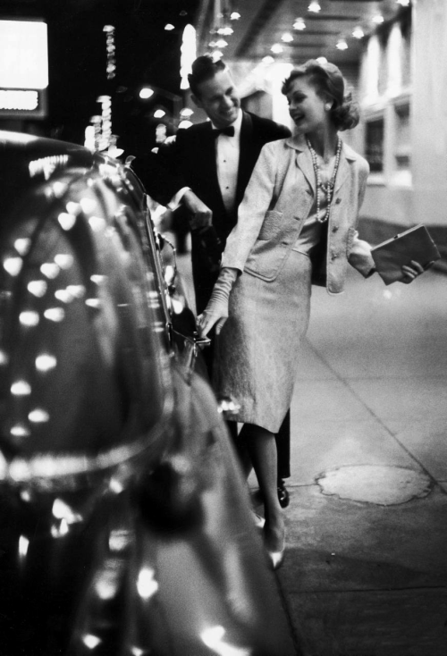 Gordon Parks: Woman wearing Daridow copy of Chanel evening suit. 1958