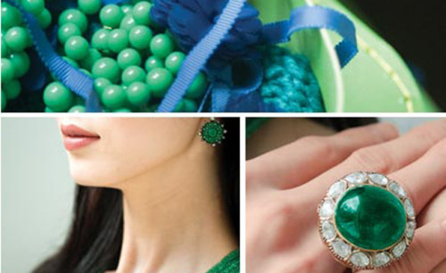 "Pantone, the authority on color, announced that emerald is the official color of the New Year.  After conducting poll and research, the institute picked emerald, which it called ""lively, radiant and lush green,"" for the color of 2013. ""Green is the most abundant hue in nature - the human eye sees more green than any other color in the spectrum,"" Leatrice Eiseman, executive director of the Pantone Color Institute, said in a statement. ""It's also the color of growth, renewal, and prosperity - no other color conveys regeneration more than green. For centuries, many countries have chosen green to represent healing and unity."" Several fashion designers' spring 2013 collection's featured the color including, Tracy Reese, Nanette Lepore and Tadashi Shoji. Last year, Patone selected Tangerine Tango as the official color of 2012."