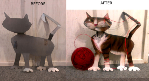 gobe:  I was asked to design a cat wall sculpture for Arizona's Humane Society. Yippee! Artists who volunteered were given a metal cat or dog to design for auction to benefit AZ's homeless cuties. I had to find a way to make it my realistic style, but fit on this cartoonish angular cut-out. With help from some metal sculpture artists at my show, I had a circle welded on and copper wire twisted to make yarn. Wire whiskers, oil painted, and a winky grin. Anything for animals. ♥