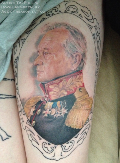 fuckyeahtattoos:  So here is my Bill Murray in all his regal glory.  Second session, one more to go!(: Steve Payne painted the original portrait and Tim Phelps stabbed his version into my skin.  Bowling Green, Ky at Age of Reason Tattoo.