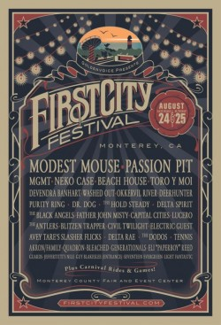 Now this is exciting news! Goldenvoice presents the inaugural First City Festival, taking place at the Monterey County Fair and Event Center on Saturday, August 24th and Sunday, August 25th! Look at those bands! Modest Mouse, check. Passion Pit, check. MGMT, Beach House, Neko Case, check check check. Not to mention there will be a FULL CARNIVAL. It should be tons of fun, and two day GA and VIP tickets go on sale Friday, May 31st at 10am, so get yourself over to FirstCityFestival.com and add another great event to what is sure to be a Summer to remember.
