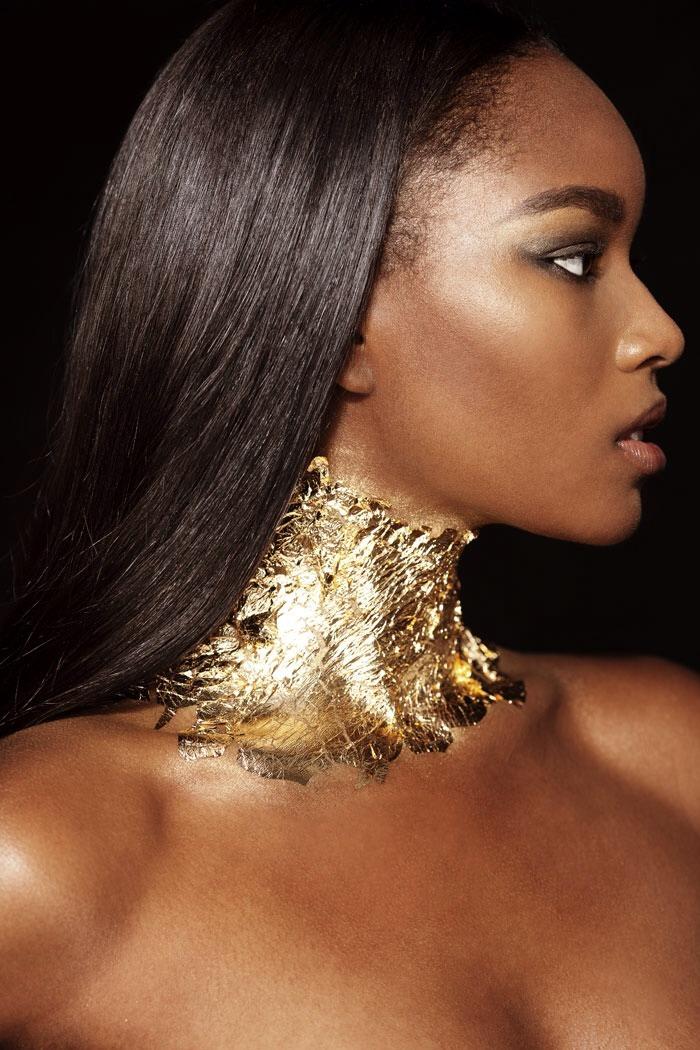 Gold Queen.  Photographer: Kristiina Wilson Hair & Makeup: Mary Irwin Model: Damaris Lewis