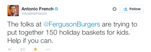 fucklerock:justice4mikebrown:November 17Ferguson Burger Bar is looking to put together 150 holiday baskets for kids in the Ferguson area.Donations are needed by December 10, 2014Can people out of the area buy stuff on amazon and have it delivered there? Would that work?