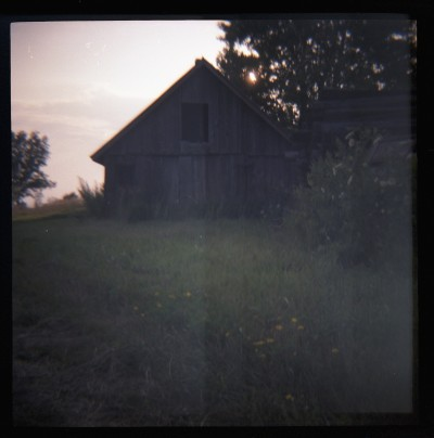 old barn, shot with DIANA on expired film