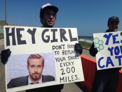 wnyc:  Spotted at yesterday's New Jersey marathon. Is there a name for turning an internet meme into a hand-written sign? -Jody, BL Show-  For Sanobs. So proud.