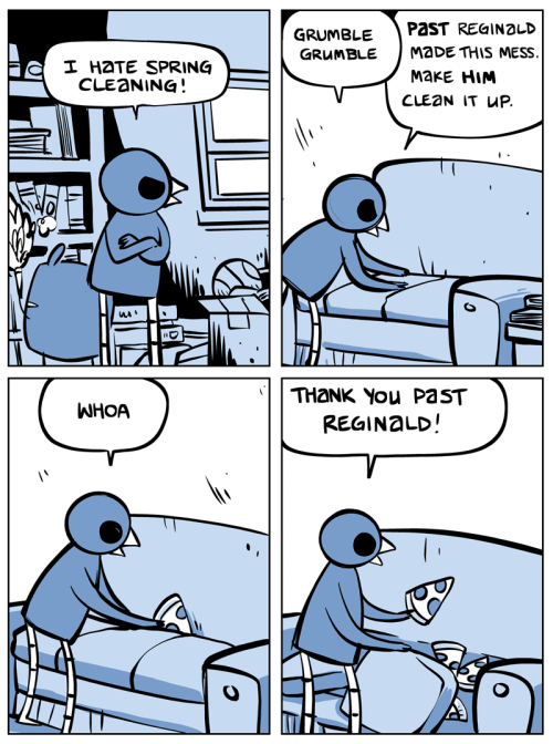 Nedroid Picture Diary - Spring Clean  The past is a foreign country where they have pizza parties.