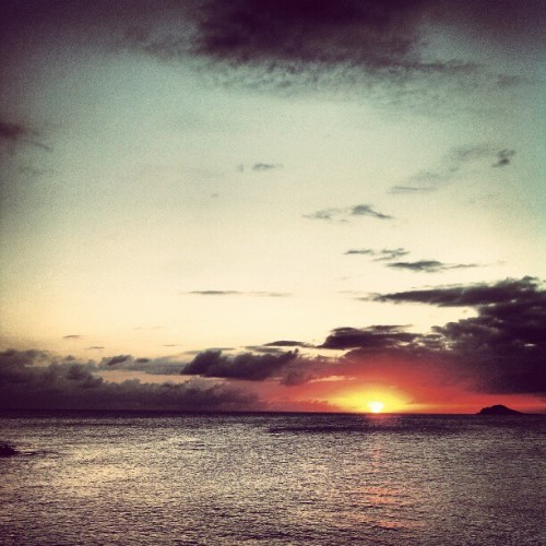 A blistering sunset over St. Thomas/Water Isle (at Water Island, USVI)