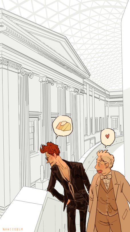 Angel cake at the British Museum.  Crowley and Aziraphale meeting up to swap reports at the British Museum.