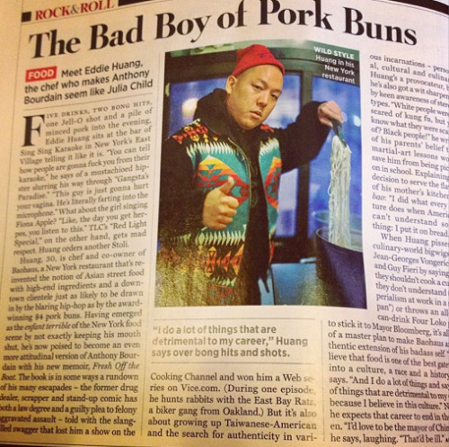 Chef Eddie Huang is in the latest issue of Rolling Stone. Can we rest our case yet?