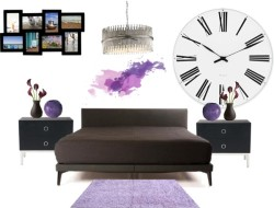 Purple Rain door rebelleshevanny op PolyvoreDe La Espada 367 McQueen Bed / Purple Shag Rug 8' x 10' / Chelsom Silver Sculpture Pendant, $2,530 / OKA Mercer Bedside Chest of Drawers, $1,060 / Missoni Home Gomitolo Vase Small - 49, $350 / Rosendahl Timepieces Rosendahl - AJ Roman Wall Clock, $255 / Menu Design Menu - Creamware Vase Organic, $52 / Rubix 8 Picture Multi Wall Frame, $60