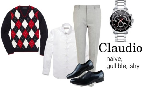 Claudio by moburder featuring movadoMovado  / Etro Slim-Fit Contrast-Placket Cotton Shirt / Brooks Brothers Merino Argyle V-Neck / River Island Light grey smart suit trousers, $63
