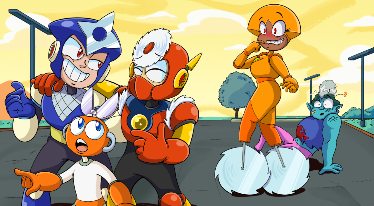 Shannon sees the Wiley Boys walking by #okko lets be heroes #cartoon fanart #video game fanart #mega man#robot masters #shannon ok ko #radicles#metal man#shadow man#cut man#crossover