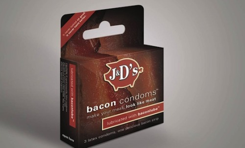 BACON-FLAVORED CONDOMS?! Ha, check it out here. Some potential N.Y. Post headlines:  • Makin' Bacon • Wine, Dine, Swine Sixty-Nine • Boink Oink • I Got You, Babe • Porky, Pig  • Bacon Strip  • Greased Up • Pork: Tend'er Loin • Boss Hogg  Click here for the rest of our puns … they're funny!