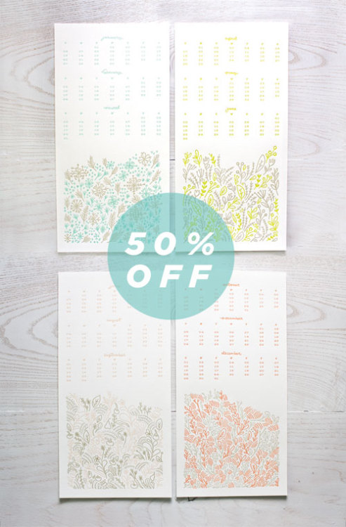 "Our 2013 Prairie Pattern Letterpress Calendar is now 50% off! It's a 7x14"" calendar featuring delicate letterpress patterns from each season. Get yours here."