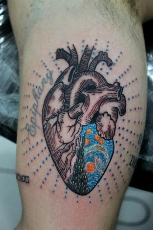 fuckyeahtattoos:  thats my starry night heart.  done at São Paulo, Brazil by Roger Marx, Nimbus Studios.
