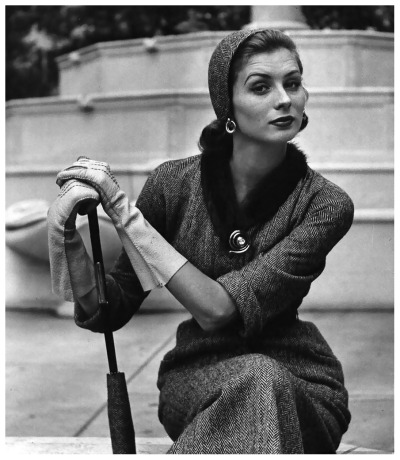 Suzy Parker in Tweed Fashion. 1951 Photographer: Nina Leen