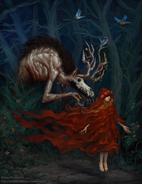 wolf wolfman red riding hood fantasy dark horror macabre enchanted forest birds bluebirds flowers antlers magic Asya Yordanova color colour illustration
