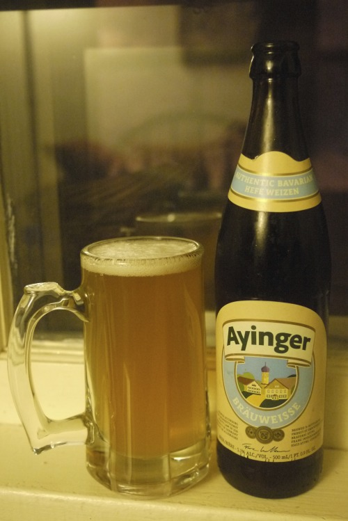 DAY SEVEN Ayinger Bräuweisse : Braueri Aying, Germany : 5.1% ABV Full disclosure: I just got in from snowblowing our alley for the second time, so a warm High Life Lite would taste good right now. But wow, I have seriously overlooked German hefeweizens.  I'll be dedicating most of this month to remedying that.